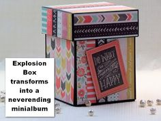 This is another explosion box that transforms into a never ending mini album. By adding folding pages to the insides this mini-album in a box can house more . Mini Albums Scrapbook, Scrapbook Page Layouts, Cubes, Birthday Explosion Box, Explosion Box Tutorial, Exploding Box Card, Pop Up Box Cards, Magic Box, Scrapbooking
