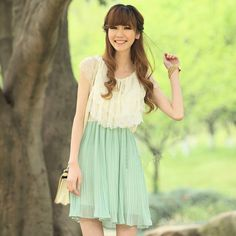 Mint green slim pleated chiffon one piece dress small fresh sweet skirt-in Dresses from Apparel & Accessories on Aliexpress.com