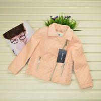 fantaisie enfant grls female child fancy Red/Pink long-sleeve leather clothing girl pink leather jacket casaco infantil feminino