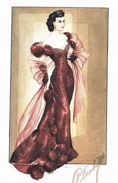 Walter Plunkett - Esquisses et Croquis - Costumes - Vivien Leigh - Autant en emporte le Vent - 1939