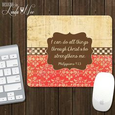 Scripture Mouse Pad I Can Do All Things by DesignsbyLindaNeeToo