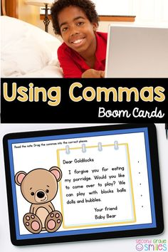 Practice using commas digitally with Boom Cards! Students will read each letter and drag and drop the commas into the appropriate spaces. Examples of comma usage in the greetings and closings of letters and using commas in lists are included. Perfect as a quick assessment for your virtual or in person second grade students! Common Core aligned. Teaching Second Grade, Second Grade Teacher, 2nd Grade Classroom, 3rd Grade Math, Third Grade, Teaching Vocabulary, Teaching Phonics, Word Work Games, Common Core Ela