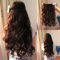 curly 20 inch brown colored great hair extension clip on