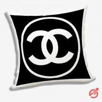 Chanel White Logo Circle Pillow Cases