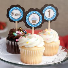 Cupcake Theme Cupcake Toppers Birthday Party - Brown & Blue