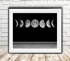 Moon phases print, Moon art, Moon wall decor, Moon digital, Sea at night, Gift idea, Moon printable, Moon inspirational, Instant download