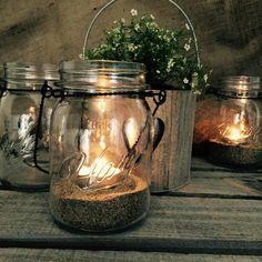 Hanging Mason Jars, Sand & Tealights - Set of 3