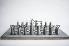 Fortify is a chess set that is based on nowadays industrial era. Inspiration comes form the construction of old industrial iron-concrete buildings. Bunker, Prague, Beton Diy, Shelf System, Modular Shelving, Iron Wire, Yanko Design, Chess Pieces, Brutalist