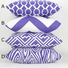 Purple Throw Pillow Cover Mix & Match Patterns by DeliciousPillows