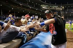 Kyle Schwarber, CHC, and fans/CUBS WIN the NLDS v STL, Oct 12, 2015