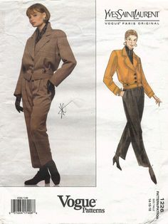 1990's VTG VOGUE Paris Original Sewing Pattern 1226. by Yes Saint Laurent. Misses' Jacket and Pants. The pattern is complete, uncut, factory folded. | eBay!