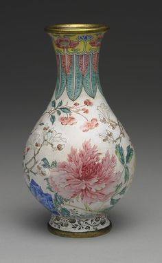 C18th chinese enamel on gilt metal vase, in the Taipei Palce Museum collection