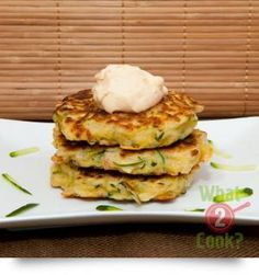 Zucchini Fritters, Lime and Chilli Mayonnaise | What2Cook