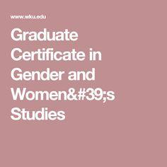 Graduate Certificate in Gender and Women's Studies
