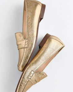 The made-in-Italy J.Crew Charlie loafer. Traditional penny loafers have been around since the 1930s and were actually sometimes used to store dimes (what a pay phone call cost back then). Our 2017 take? Not-so-traditional gold metallic leather.