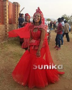 Zulu Traditional Wedding Dresses, South African Traditional Dresses, Traditional Outfits, Wedding Dresses South Africa, African Wedding Attire, African Weddings, African Attire, Couture Wedding Gowns, Red Wedding Dresses