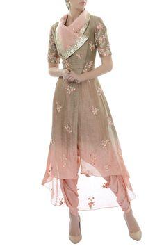 Buy Brown draped collar tunic with dhoti by Incheetape at Aza Fashions Stylish Dress Designs, Designs For Dresses, Stylish Dresses, Fashion Dresses, Stylish Dress Book, Kurti Designs Party Wear, Kurta Designs, Blouse Designs, Mehndi Designs