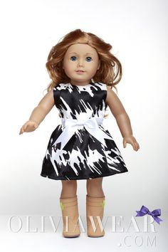 American Girl Clothes Collection #59 Black and White Abstract Pattern Dress