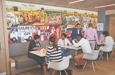 Diageo By FSG Africa  Canteen Area with a Colourful Mural done by a local Township Artist