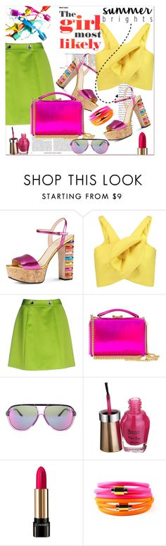 """""""summer brights...."""" by nihal-imsk-cam ❤ liked on Polyvore featuring Gucci, Delpozo, Moschino Cheap & Chic, Mark Cross, Lancôme, Liza Schwartz, contest and summerbrights"""