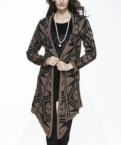 This Simply Couture Black & Taupe Tribal Sidetail Cardigan by Simply Couture is perfect! #zulilyfinds