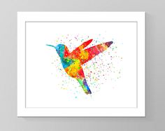 Hummingbird watercolour wall art printable home decor nursery art children room decor silhouette cubicle trendy rainbow wall picture gift