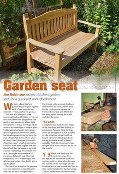 Garden Seat Plans - Outdoor Furniture Plans