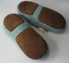 Leather slipper soles for women's slippers - use for knitting crochet felted slippers - brown leather soles - fits all women's sizes. $9.50, via Etsy.