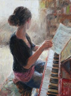 by Trent Gudmundsen Reminds me of ....me, many years ago, practicing my piano at home as a young teenager.