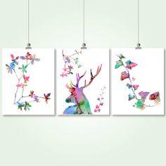 deer watercolor printable digital print set by SunnyRainFactory