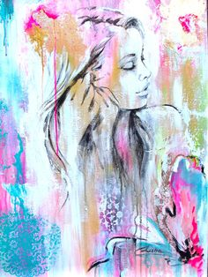 Contemporary Figurative Original Painting on Gallery Wrapped Canvas 36 x 24 Pink, Teal, White - Ready to Hang. $275.00, via Etsy.