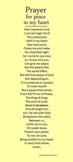 """Prayer for peace in my heart"" is partially based on Ephesians 2:13-18 which speaks about how Jesus is our only true peace. He makes peace between you and God by ending all conflict and hostility. But beyond just an end to disagreement, true peace is a un"