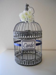 Silver+Gray+Birdcage+Wedding+Cards+Holder+Navy+by+LKWeddingBouquet,+$51.99