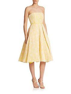 ML Monique Lhuillier Strapless Lace Midi Dress