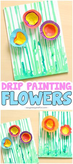 Drip painting flowers art activity for kids. #artforkids #craftforkids #flowercrafts