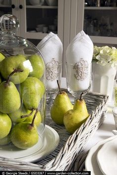 nod to the hruska name to have pears certain placecs? built into centerpieces?: