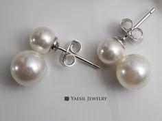 Double Pearl Earrings in White,  [6/8] Snowman Earrings, Bridal Earrings, Wedding Earrings, Sterling Silver Post, Quality Pearls by YaesilJewelry on Etsy Double Pearl Earrings, White Bridal, Wedding Earrings, Pearl White, Etsy Earrings, Snowman, Swarovski, Frozen, Pearls