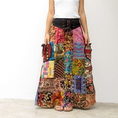 Perfect Patchwork Skirt With Pockets