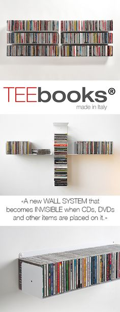 You can create your own TEEbooks CD shelving system as you like for storing your CDs horizontally and/or vertically using TEEbooks CD shelves; this is the advantage of aTEEbooks CD shelving system.