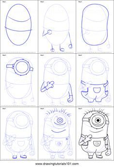 How to Draw Stuart from Minions step by step printable drawing sheet to print. Learn How to Draw Stuart from Minions Pencil Drawing Tutorials, Pencil Art Drawings, Animal Drawings, Drawing Sketches, Drawing Drawing, Sketching, Drawing Cartoon Characters, Character Drawing, Cartoon Drawings