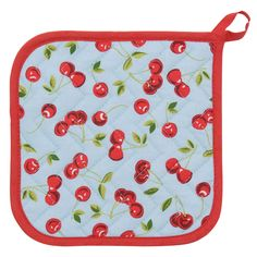 Vintage style pot holder with a clean, crisp, and colorful pattern print. This Betty Collection kitchen accessory is quilted for durability and heat protection. Made from 100% cotton. Measures 8