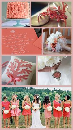 Coral wedding- I love the different shades of bridesmaid dresses and the wedding dress!