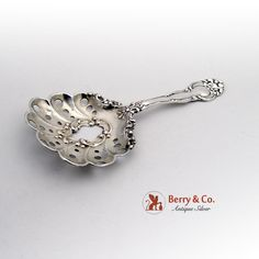 Ornate Openwork Scroll Bon Bon Spoon Sterling Silver 1900