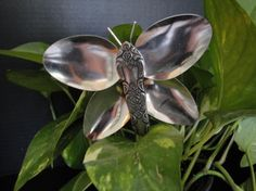 Recycled Silverware Butterfly Stake by ElatiStudios on Etsy, $13.00