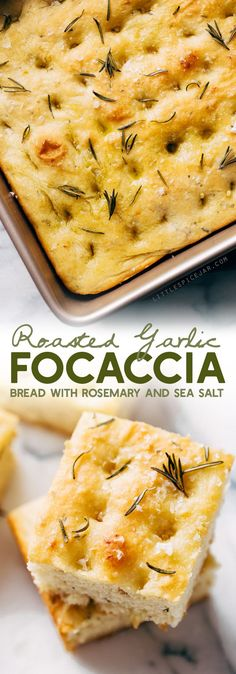 Roasted Garlic Rosemary Focaccia Bread - learn how to make this delicious bread. Serve it with soup, as a side of pasta, or build a sandwich with it! Rosemary focaccia is easy to make and absolutely delicious! #focacciabread #focaccia #rosemaryfocaccia #bread | Littlespicejar.com