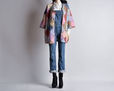 vintage patchwork asymmetric cardigan sweater / s by persephonevintage