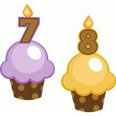 Silhouette Design Store: birthday cupcakes 7 and 8