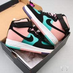 "2019 Nike Air Force 1 High ""Have a Nike Day"" CI2306-300 Sale 2019 #nike Air Force 1 High Have a Nike Day CI2306-300 Sale<br> This Nike Air Force 1 High ""Have a Nike Day"" CI2306-300 comes with Teal mesh on the upper while Black nubuck lands on the overlays. Moda Sneakers, Nike Sneakers, Sneakers Fashion, Adidas Shoes, Nmd Adidas, Cute Nike Shoes, Shoes Cool, Jogger Adidas, Retro Nike Shoes"