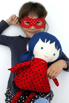 LADYBUG RAG DOLL toy, super hero doll girl toy for toddler custom gift with superhero mask and cape with dots  Surprise the little ones in your life with a personalized present and a bespoke toy they never knew they wanted!  Personalize your doll with a name tag. - Choose your favourite La Loba superhero doll - add this listing with the name tag to your cart as well: http://etsy.me/1VzyFzs  At checkout, please leave me any requests in the comments section of your wished name or...