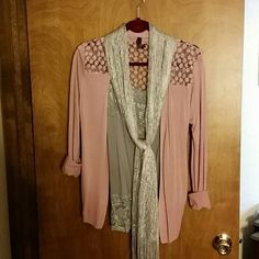 Cardigan Dusty rose,  lace cardigan.  Never worn, perfect shape.   Says XL, but runs small. Yoki Sweaters Cardigans